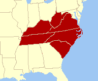 Map of states we service: NC, SC, TN, KY, WV and VA
